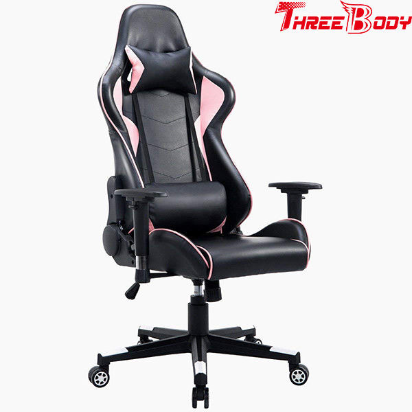 High Back Black And Pink Gaming Chair , Swivels 360 Degrees Pu Leather Office Chair